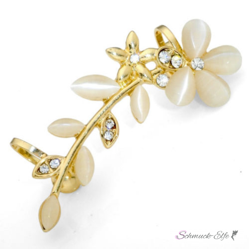 1 Ohrklemme / Earcuff Blüten Traum Peachy gold ...