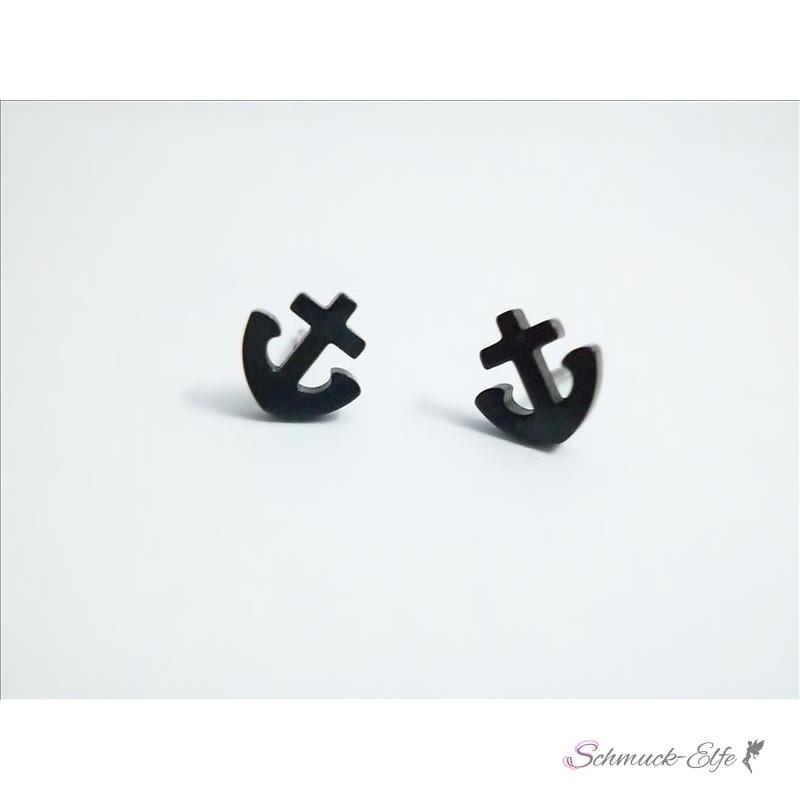 1 paar anker ohrstecker edelstahl schwarz im wei en organza be. Black Bedroom Furniture Sets. Home Design Ideas