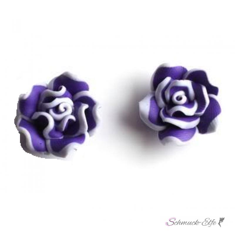 1 Paar Blüten Ohrstecker ROSE XL lila weiß im O...