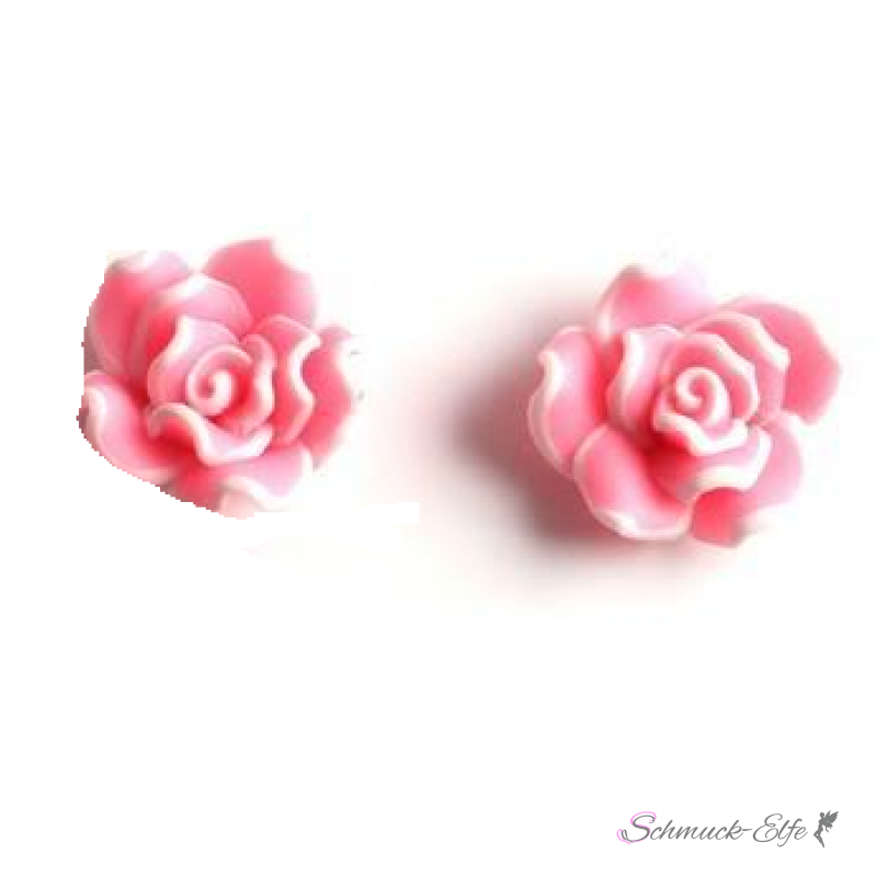 1 Paar Blüten Ohrstecker ROSE XL rosa weiß im O...