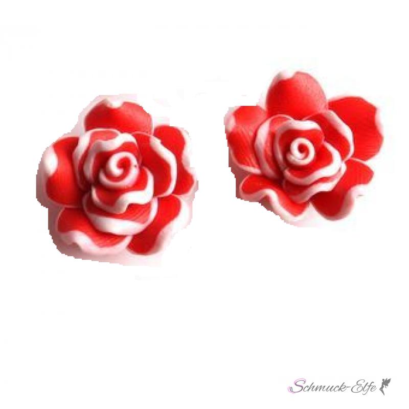 1 Paar Blüten Ohrstecker ROSE XL rot weiß im Or...