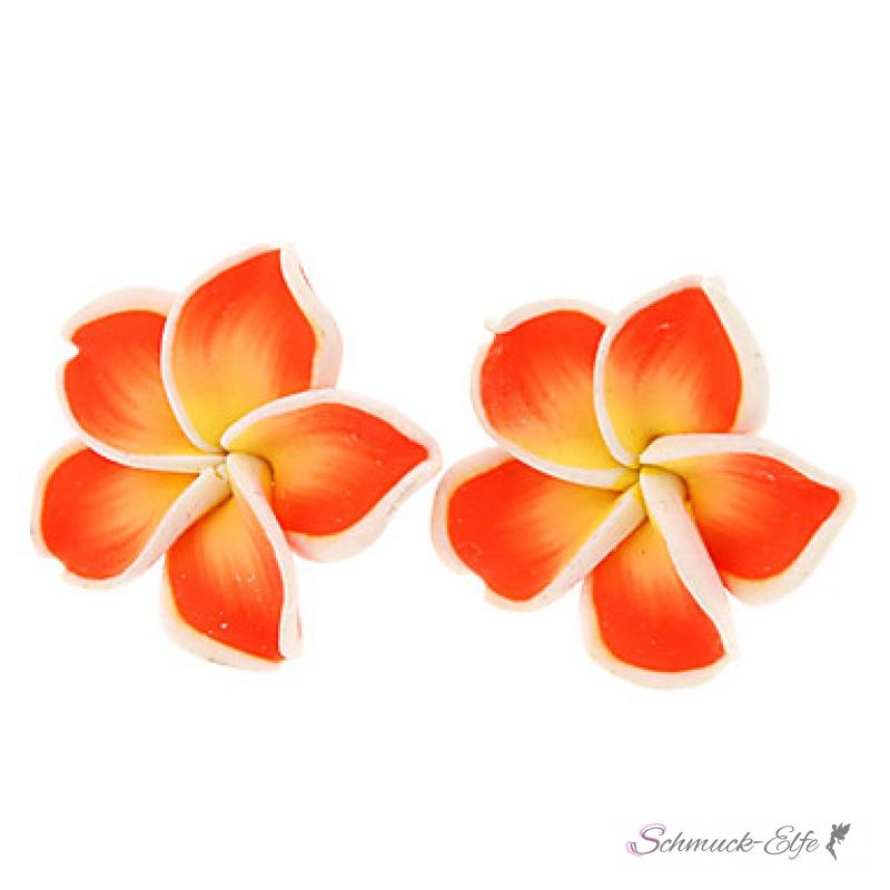 1 Paar FIMO Blüten Ohrstecker groß - weiß rot g...