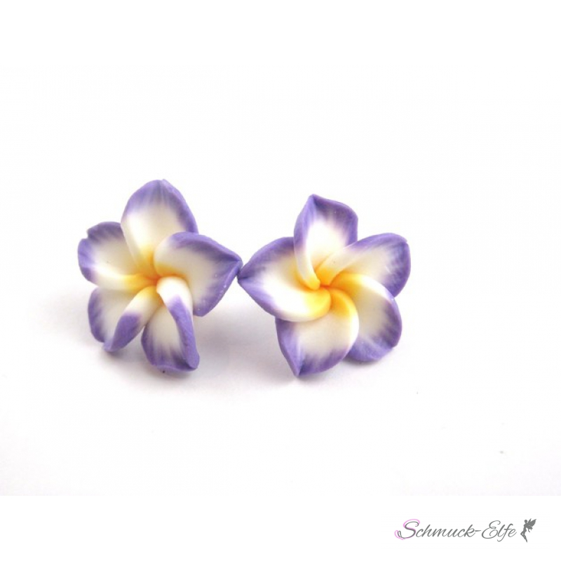 1 Paar FIMO Blüten Ohrstecker lila weiß gelb im...