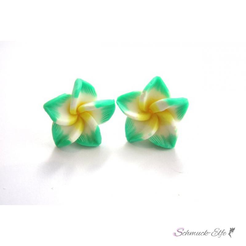 1 Paar FIMO Blüten Ohrstecker weiß minze gelb i...