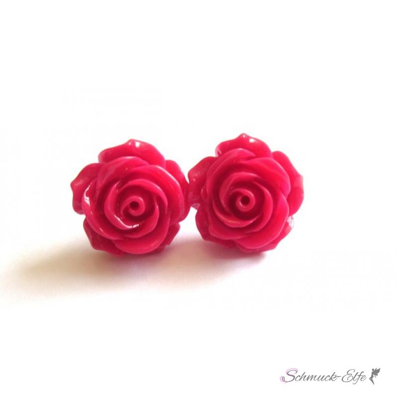 1 Paar Ohr Stecker Blüte rot im Organza Beutel