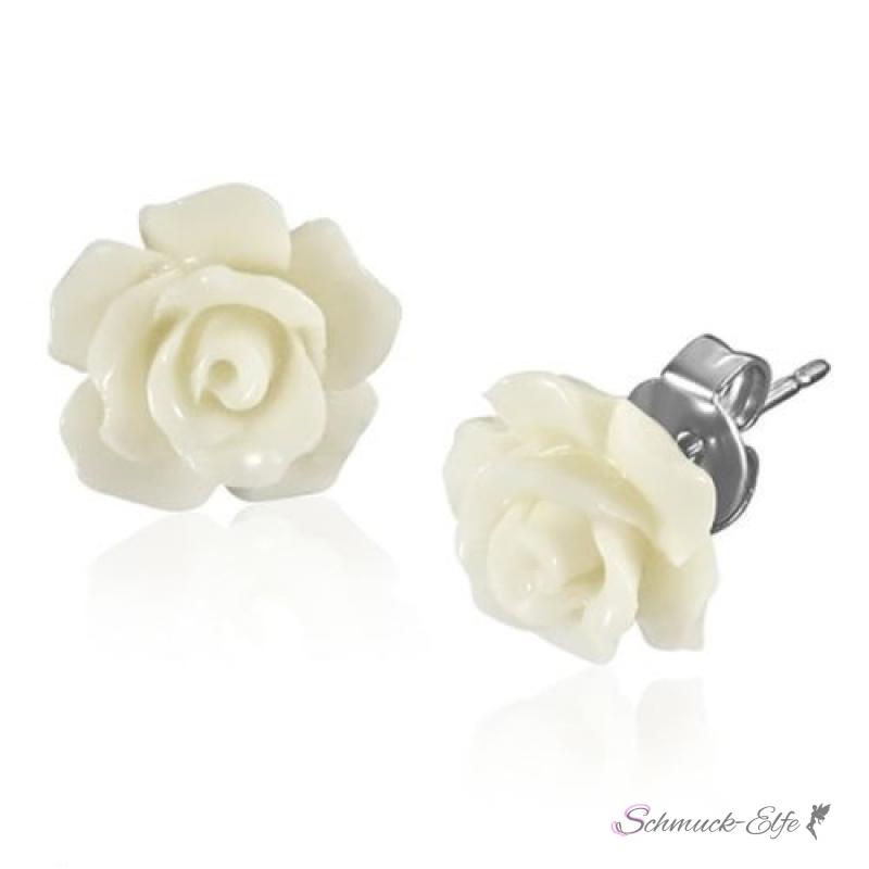 1 Paar Ohr Stecker Blüte weiß im Organza Beutel