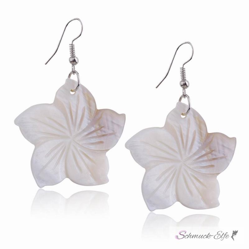 1 Paar Ohrhänger Hibiskus Blüte creme weiß im O...