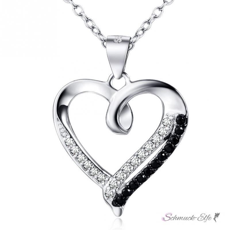 Anhänger Herz BLACK & WHITE aus 925 Silber mit ...