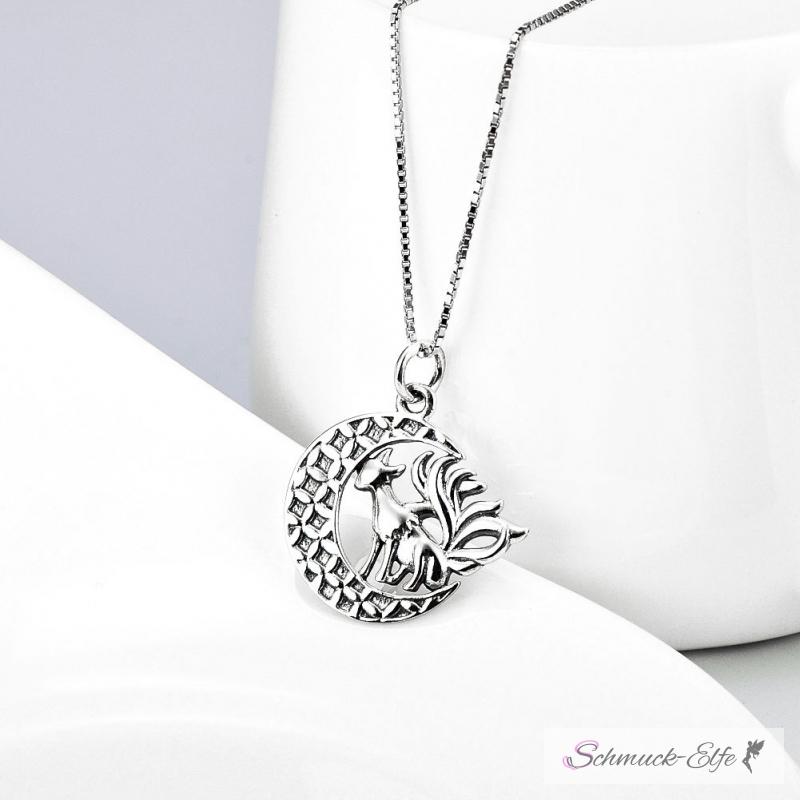 925 silber  Anhänger Mond mit Drachen aus 925 Silber inkl.Kette im Etui Grav