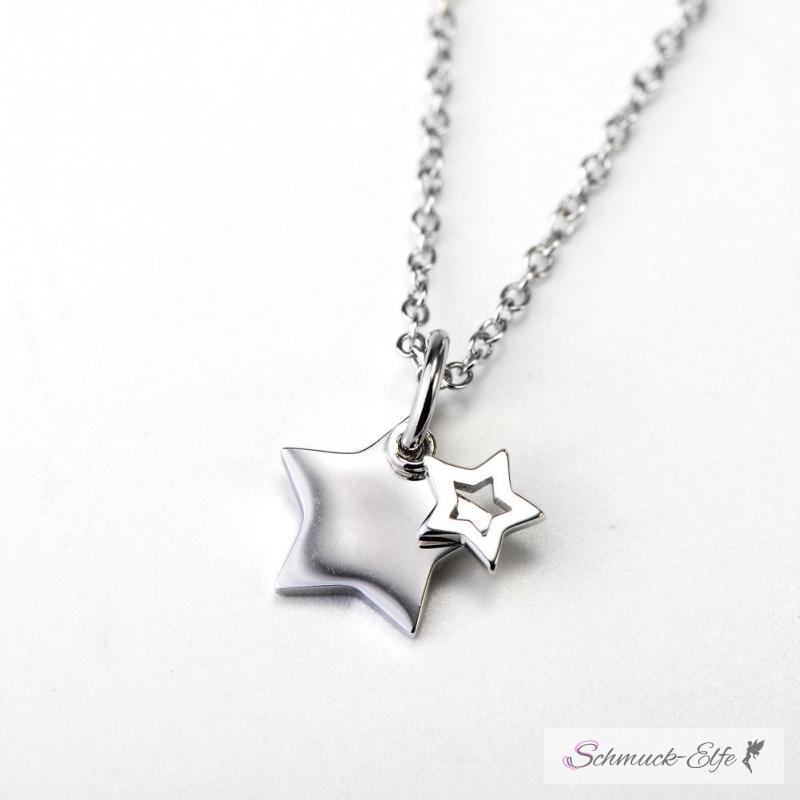 925 silber  Anhänger Sterne aus 925 Silber inkl. Gliederkette 925 Silber im