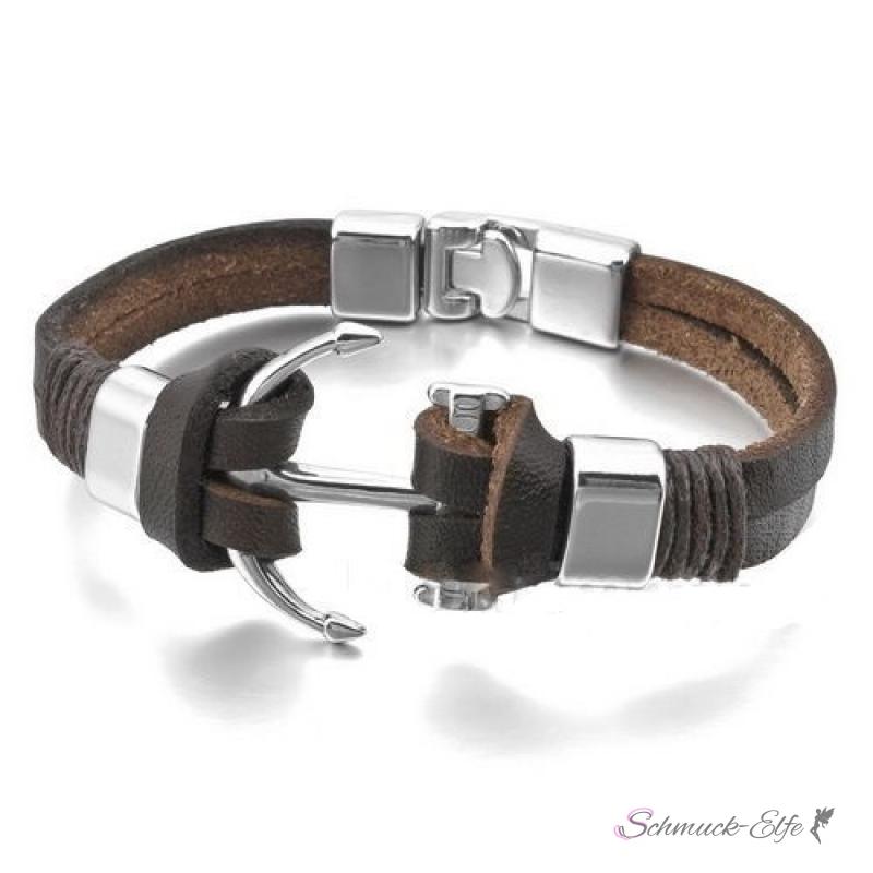 armband anker leder dunkel braun im organza beutel 49 99. Black Bedroom Furniture Sets. Home Design Ideas