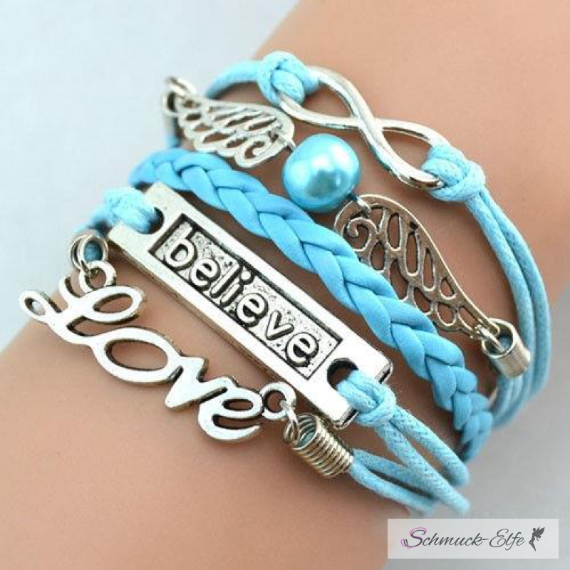 Armband Engelsflügel & BELIEVE himmelblau mit P...