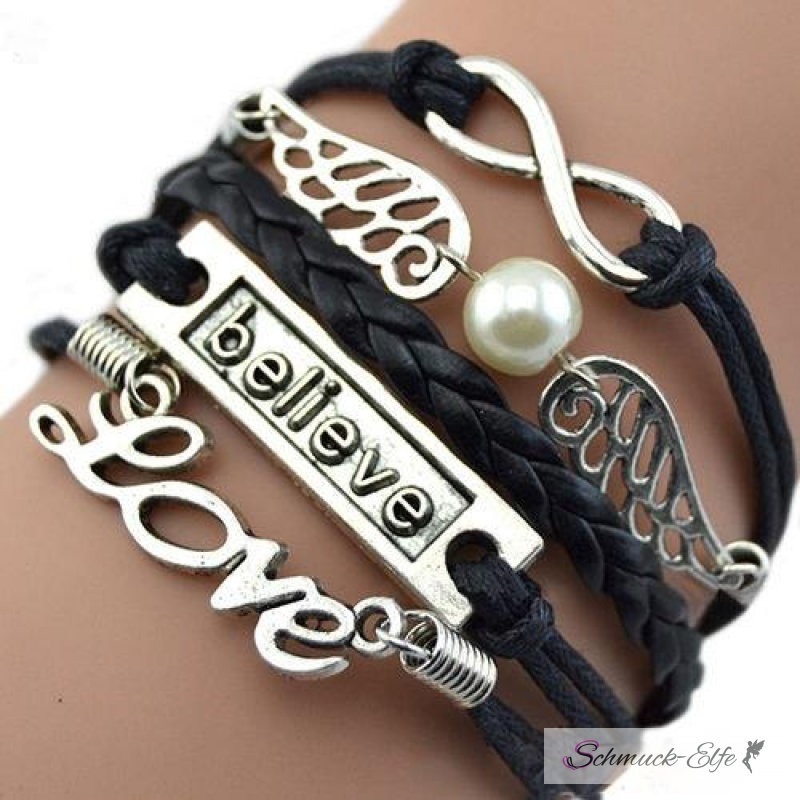 Armband  Armband Engelsflügel & BELIEVE schwarz mit Perle im Organza