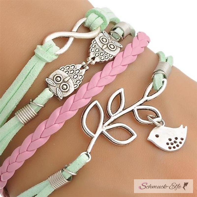 Armband  Armband Euly mit Vögelchen mint & rosa im Organza Beutel, 1