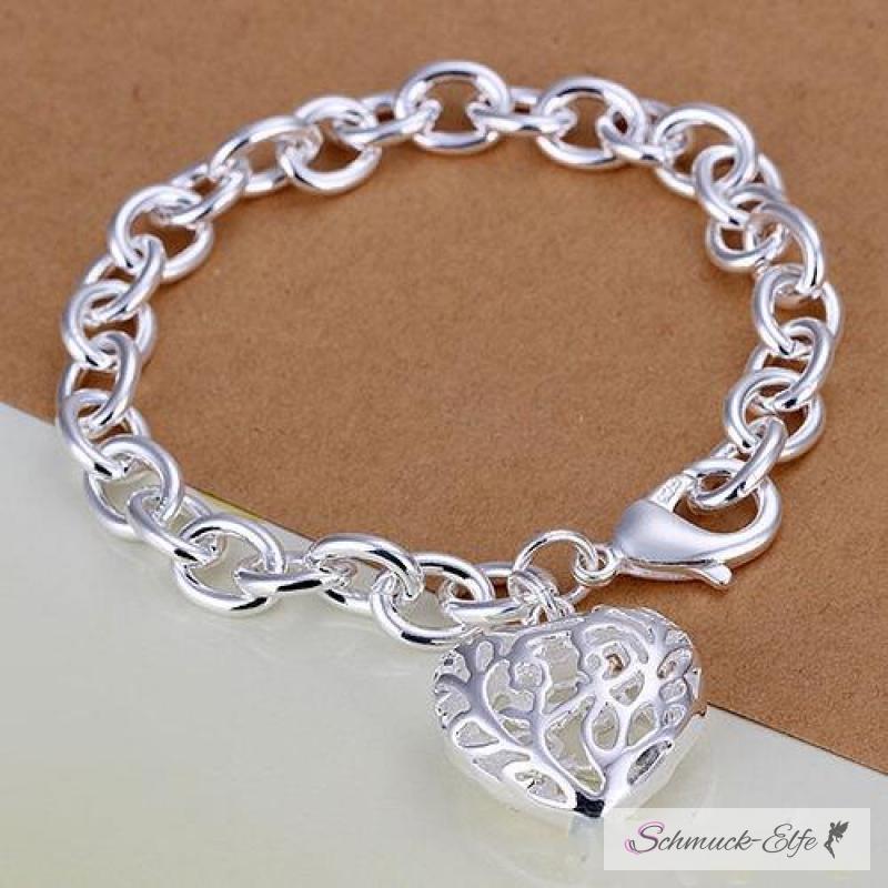 Silber armband  Armband Herz Romatik groß Sterling Silber im Organza, 39,99 &