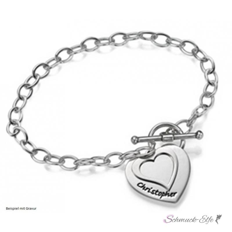 Armband silber  Armband Herz aus 925 Silber im Etui Gravur Option, 99,99 €