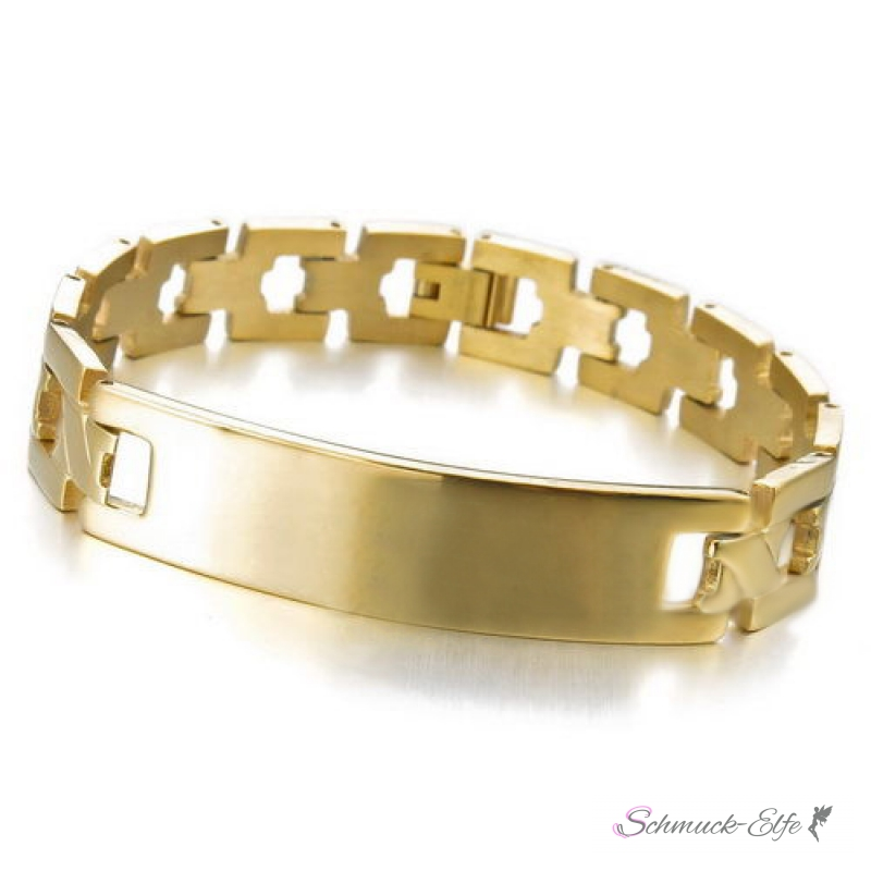 Schmuck gold  Armband NAMENSSTEG gold aus 316 L Edelstahl Gravur Option im Schmuck