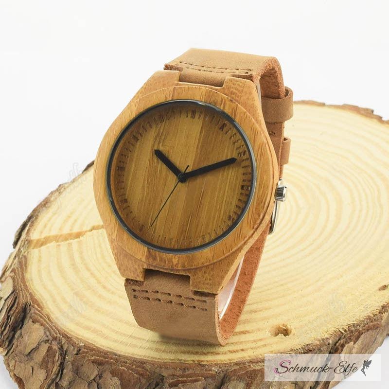 armbanduhr bambus holz wood mit echt leder armband 29 99. Black Bedroom Furniture Sets. Home Design Ideas