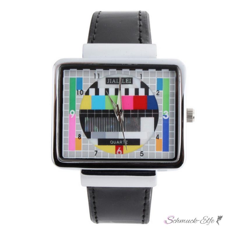Armbanduhr Testbild TV PU Lack Leder schwarz