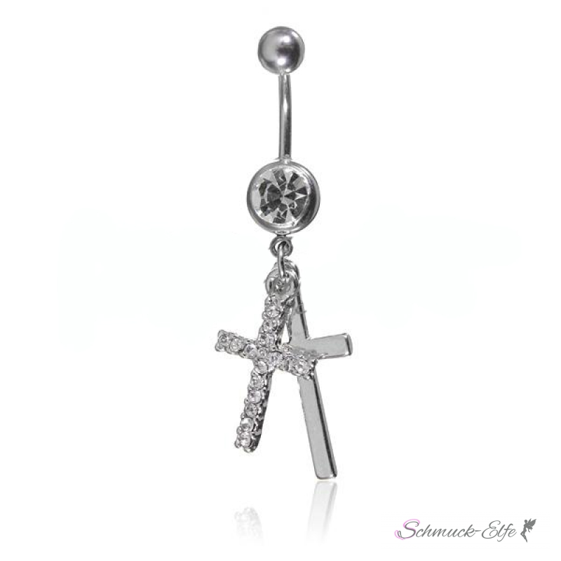 Bauchnabel Piercing Kreuze mit Zirkonias 316 L ...