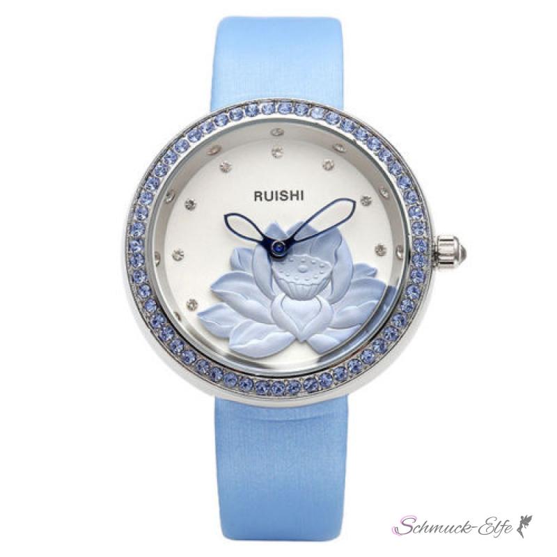 damen armbanduhr 3d lotus bl te mit zirkonien silber blau. Black Bedroom Furniture Sets. Home Design Ideas