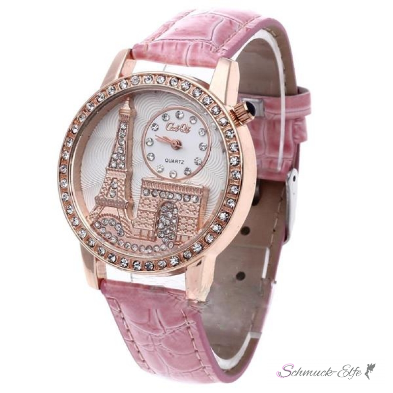 damen armbanduhr 3d paris mit strass rosegold rosa 49 10 chf. Black Bedroom Furniture Sets. Home Design Ideas
