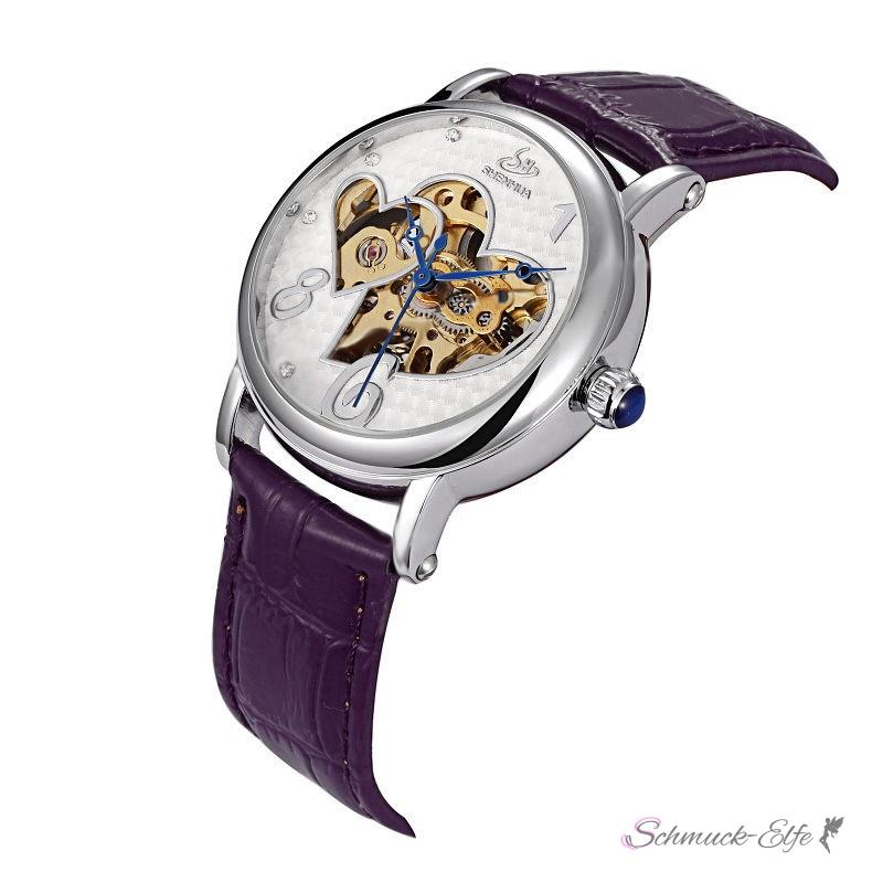 Armbanduhr zeichnung  Damen Armbanduhr Herz Mechanisch Automatik Skelett mit Zirkonias Armb