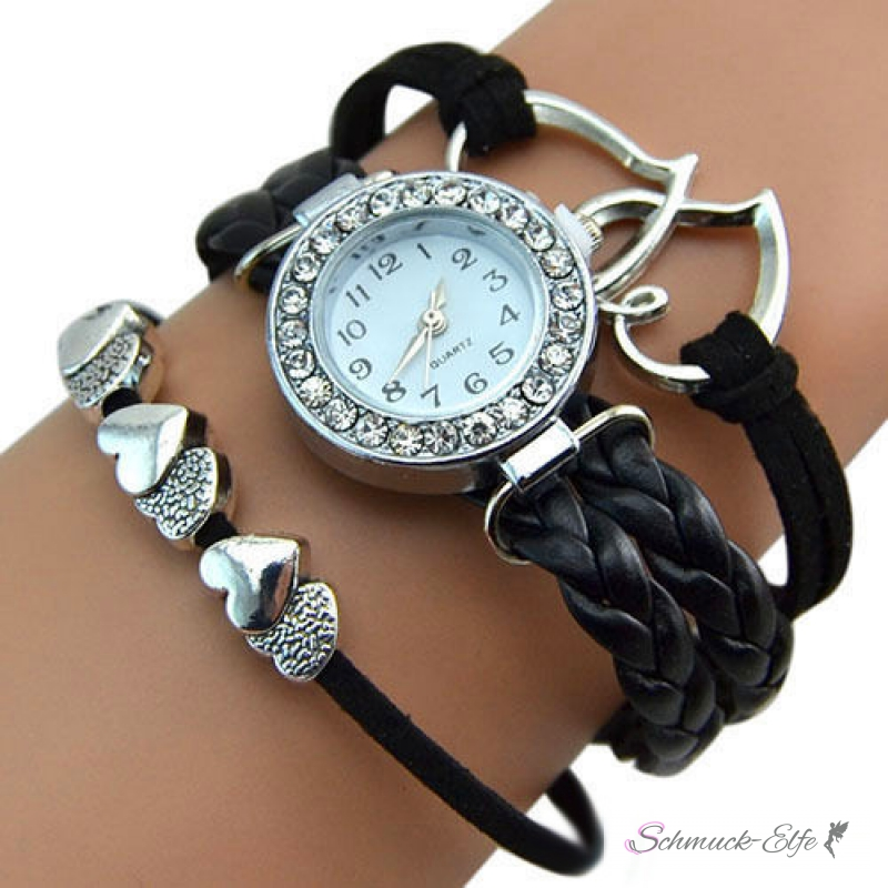 Armbanduhren damen silber schwarz