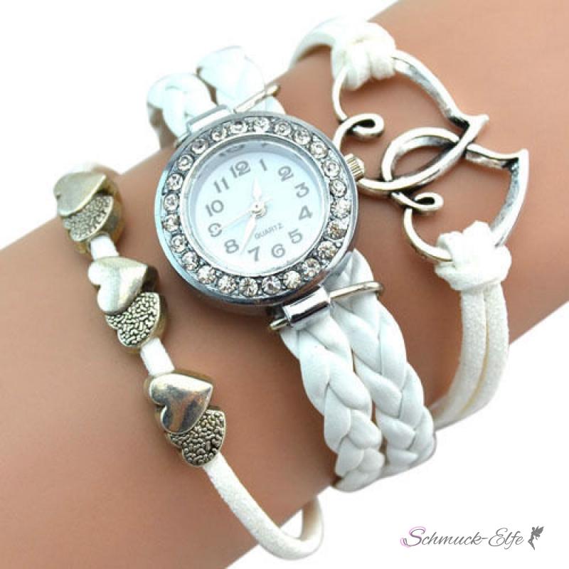 Armbanduhr am arm damen  Damen Armbanduhr Herzen mit Strass Kunstleder weiß, 34,99 &euro