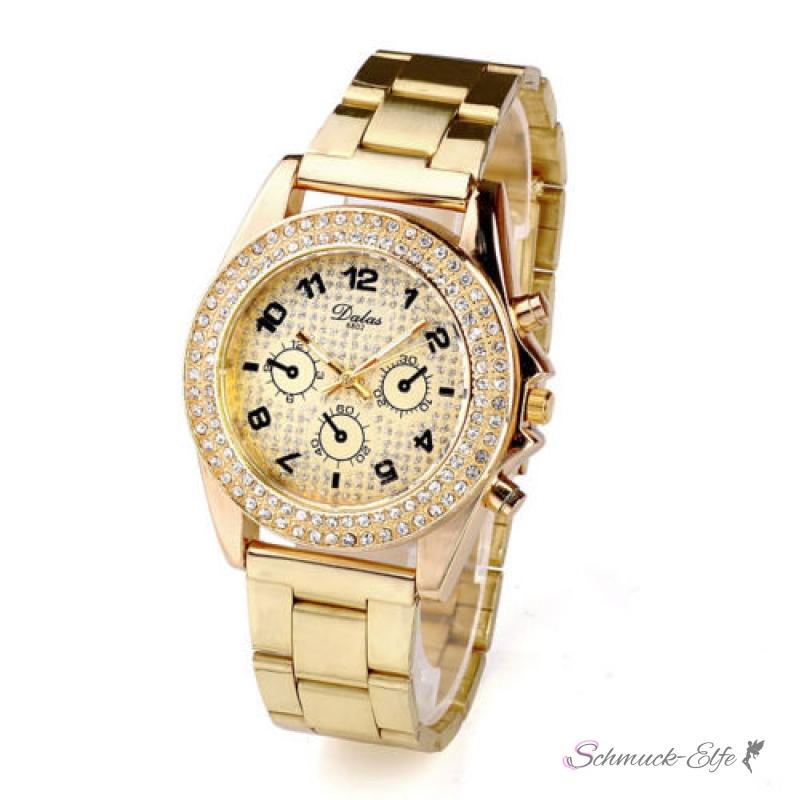 damen edelstahl armbanduhr gold glam queen 79 99. Black Bedroom Furniture Sets. Home Design Ideas