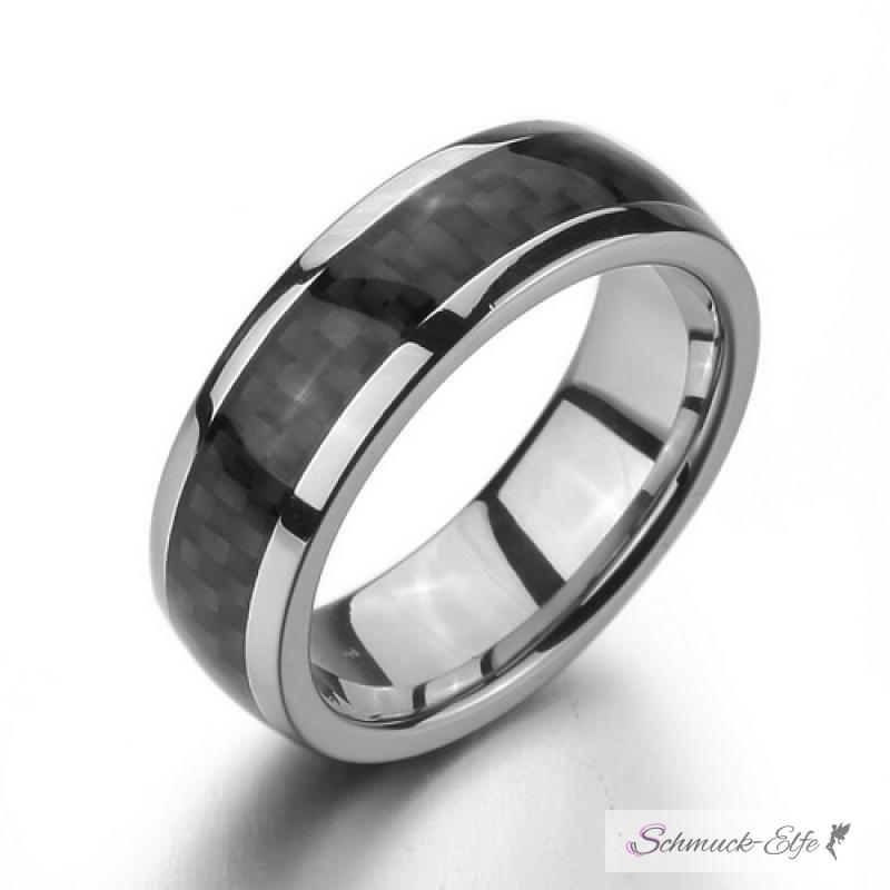 Freundschaftsringe edelstahl schwarz  Ring Schwarz Kohlenstoff Faser im Etui Größe 70