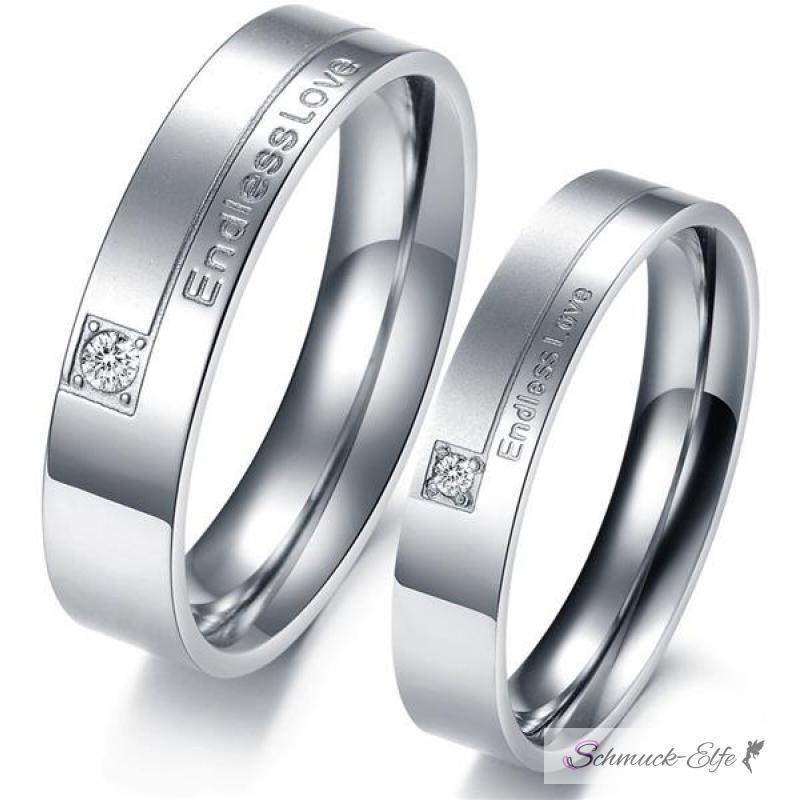 Partnerringe schwarz edelstahl  SET Eheringe / Partner Ringe 316 L Edelstahl Endless Love im Etui ver
