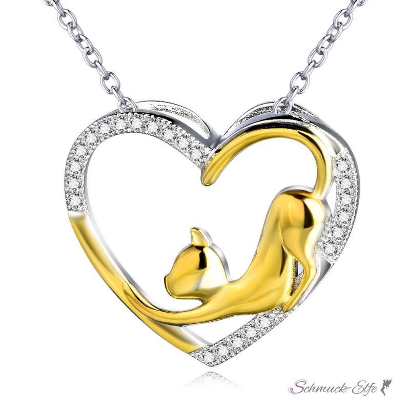 Herzanhänger  Herz Anhänger Hund Doggy Love Zirkonias mit 18 K Gelbgold Teil