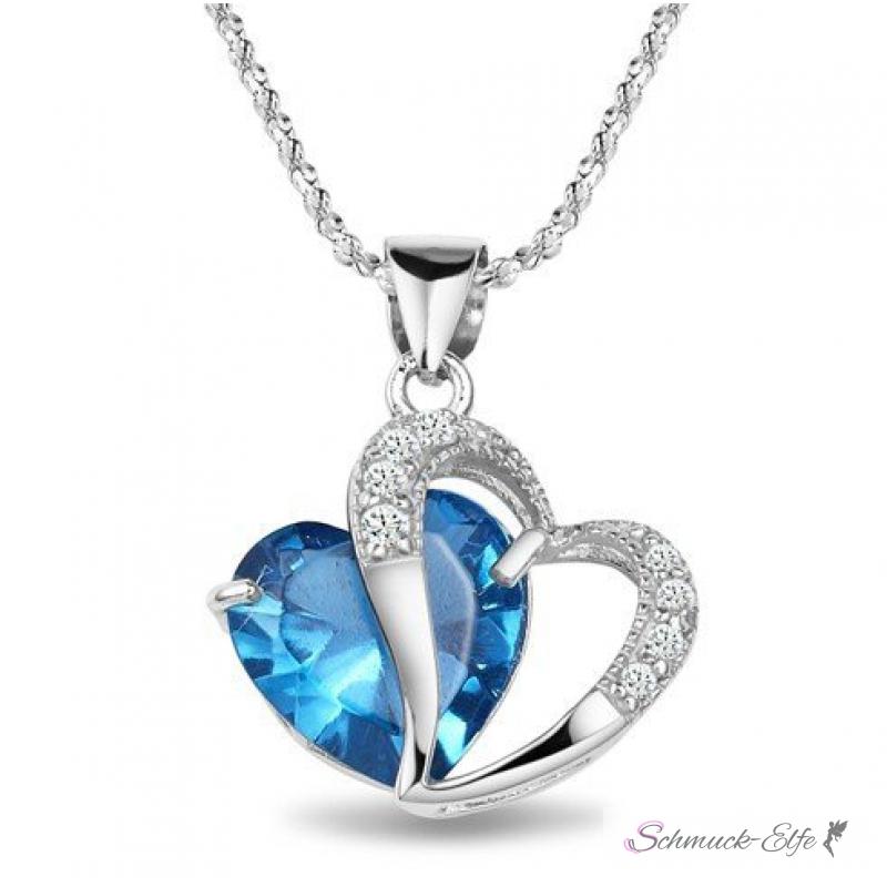 herz anh228nger 246sterreichischen kristall blau 18 k vergoldet