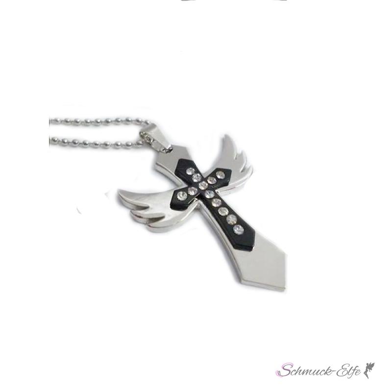 Kreuz Anhänger Engel mit Strass inkl. Kette im ...