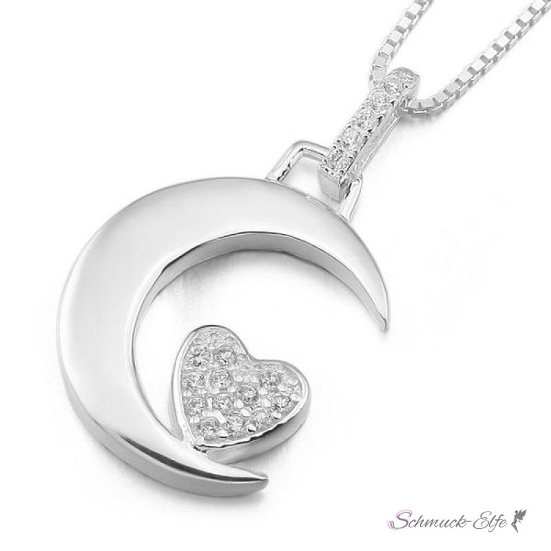 Kette mit anhänger  Mond Anhänger mit Zirkonia Herz mit Spruch inkl. Glieder Kette