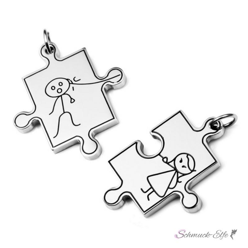 partnerketten comic puzzle edelstahl inkl ketten im etui gravur opt. Black Bedroom Furniture Sets. Home Design Ideas