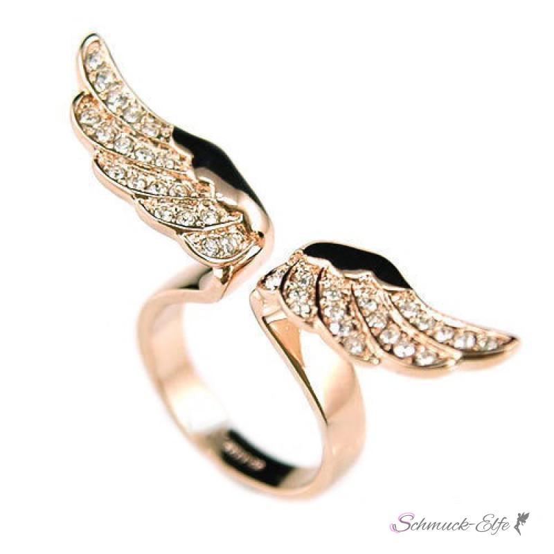 Ring Engelsflügel mit Strass gold