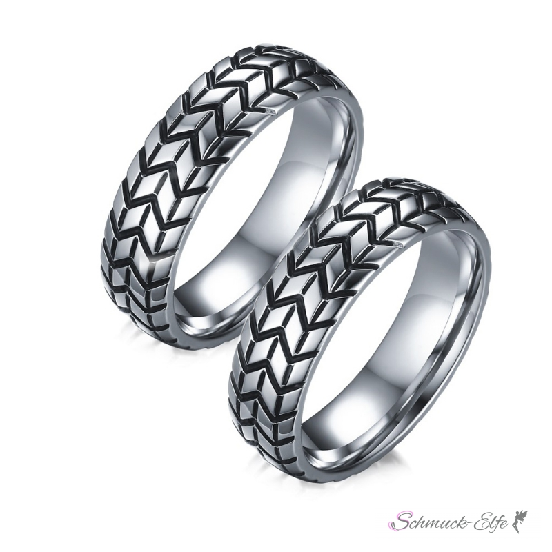 Partnerringe gravur  SET Eheringe / Partner Ringe 316 L Edelstahl Reifen Profil im Etui ve