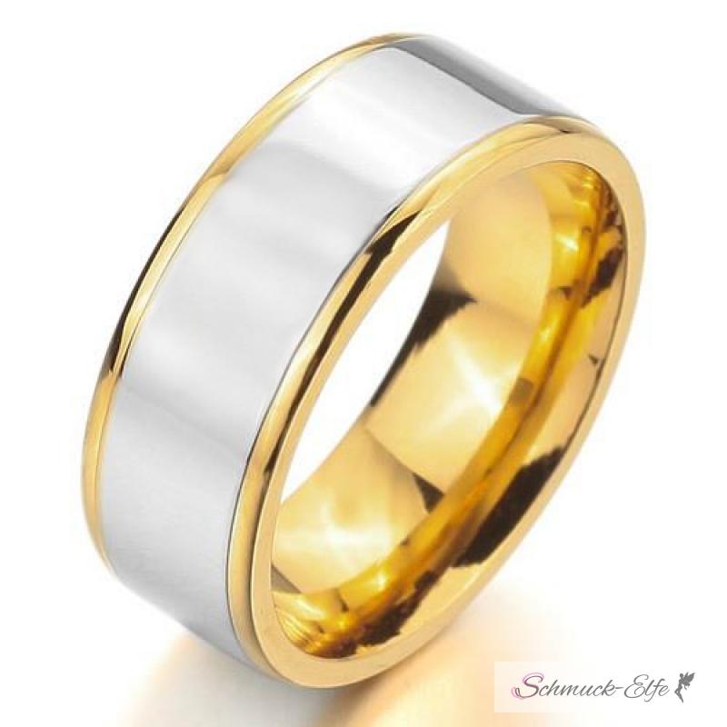 Freundschaftsringe edelstahl matt  SET Eheringe / Partner Ringe 316 L Edelstahl gold Zirkonia im Etui