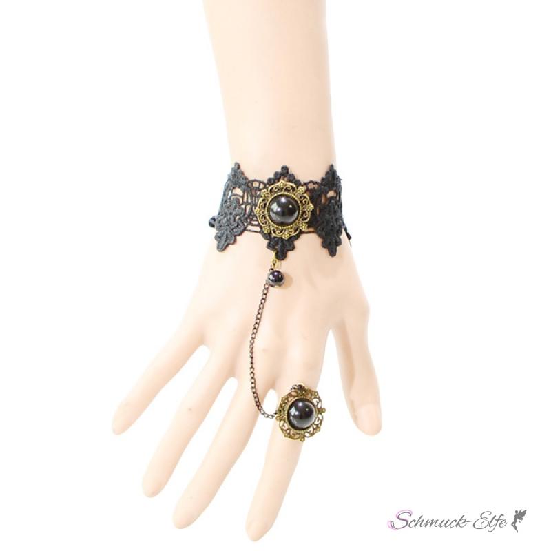 schmuck set barock armband black princess aus spitze mit ring 43 65. Black Bedroom Furniture Sets. Home Design Ideas