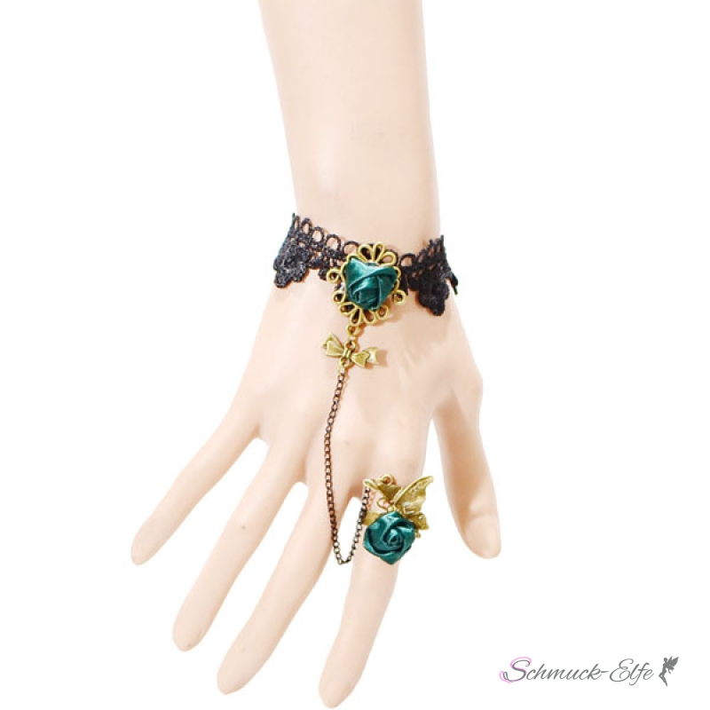 schmuck set barock armband green rose butterfly aus spitze mit ring. Black Bedroom Furniture Sets. Home Design Ideas