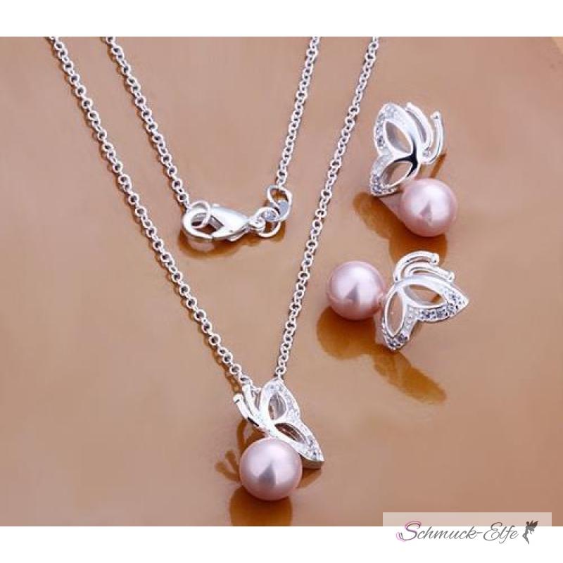 Schmuckset silber  Schmuck Set Kette & Ohrringe Rose Perle Schmetterling 925 Silber