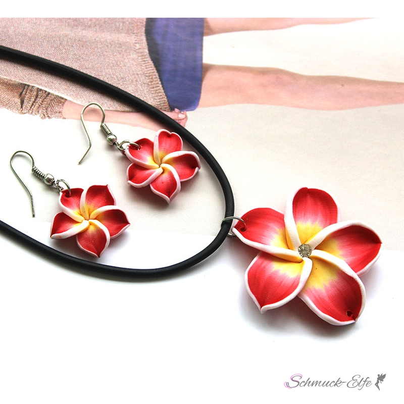 Schmuckset Blüten Ohrstecker & Collier rot weiß...