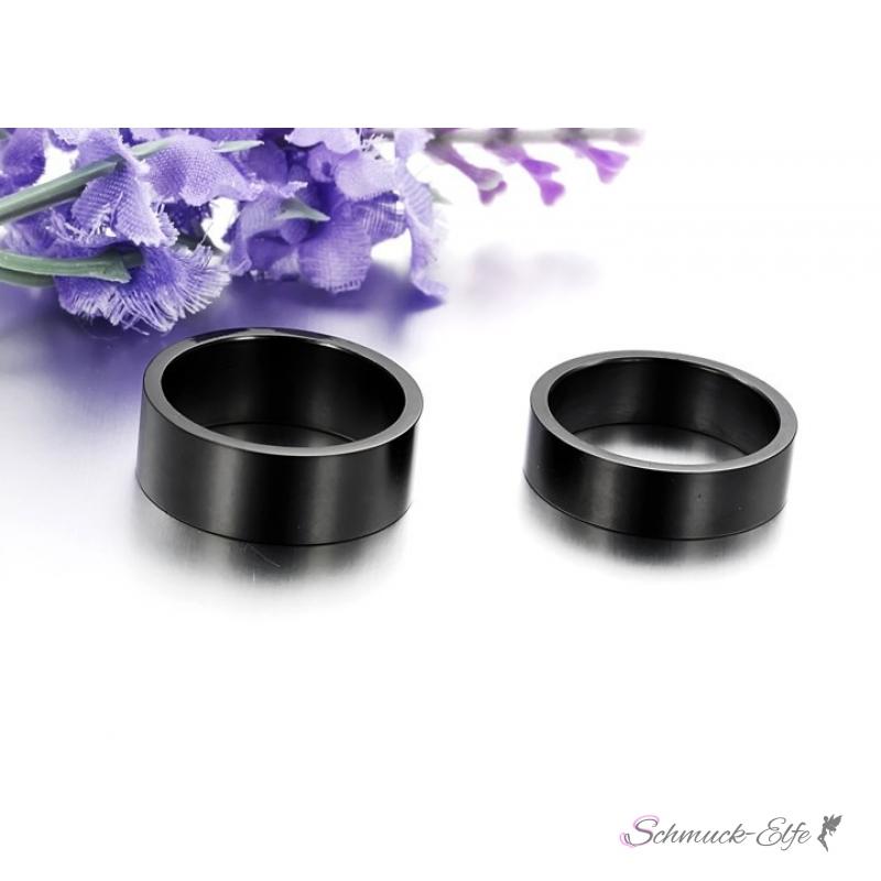 Partnerringe schwarz matt  Set Eheringe / Partner Ringe 316 L Edelstahl schwarz glänzend,