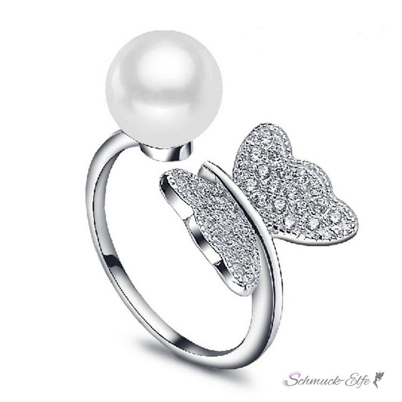 silberring zucht perle wei schmetterling mit zirkonias p. Black Bedroom Furniture Sets. Home Design Ideas
