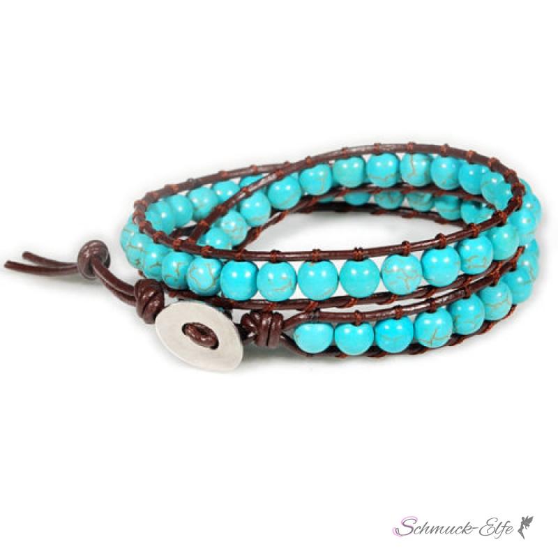wickel armband echt leder braun mit echten t rkis perlen. Black Bedroom Furniture Sets. Home Design Ideas
