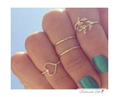 4 tlg. Ring Set Midi Nuckles Ring gold