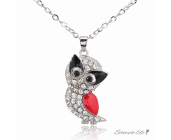 Anhänger Eule Strass & Emaille rot schwarz inkl. Kette