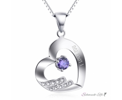 Anh�nger Herz I LOVE YOU mit Amethyst aus 925 Silber...